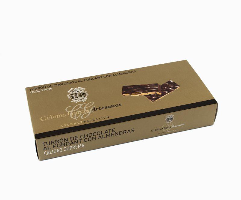 Estuche de Turrón de Chocolate al Fondant con Almendras