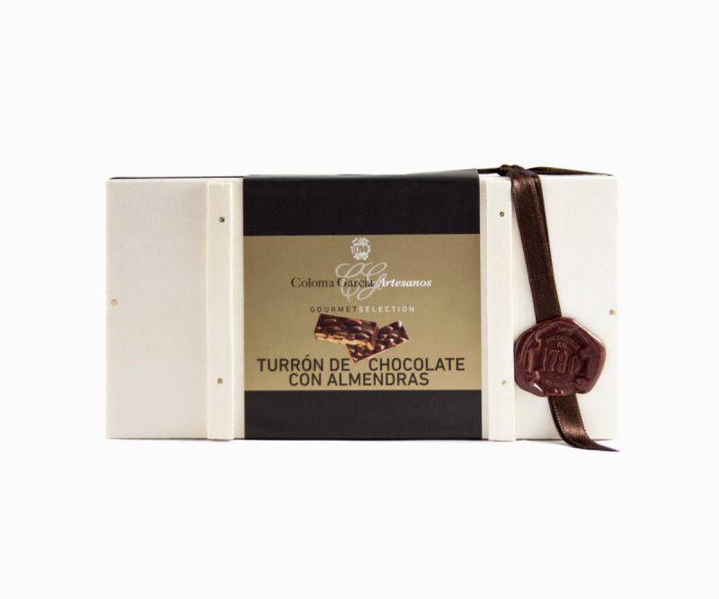 Turrón de Chocolate con Almendras estuche de madera