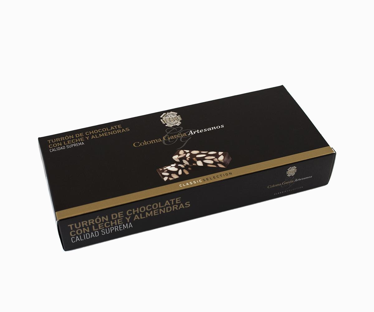 Estuche de Estuche de Turrón de Chocolate Artesanal con Leche y Almendrasde Chocolate con Leche y Almendras