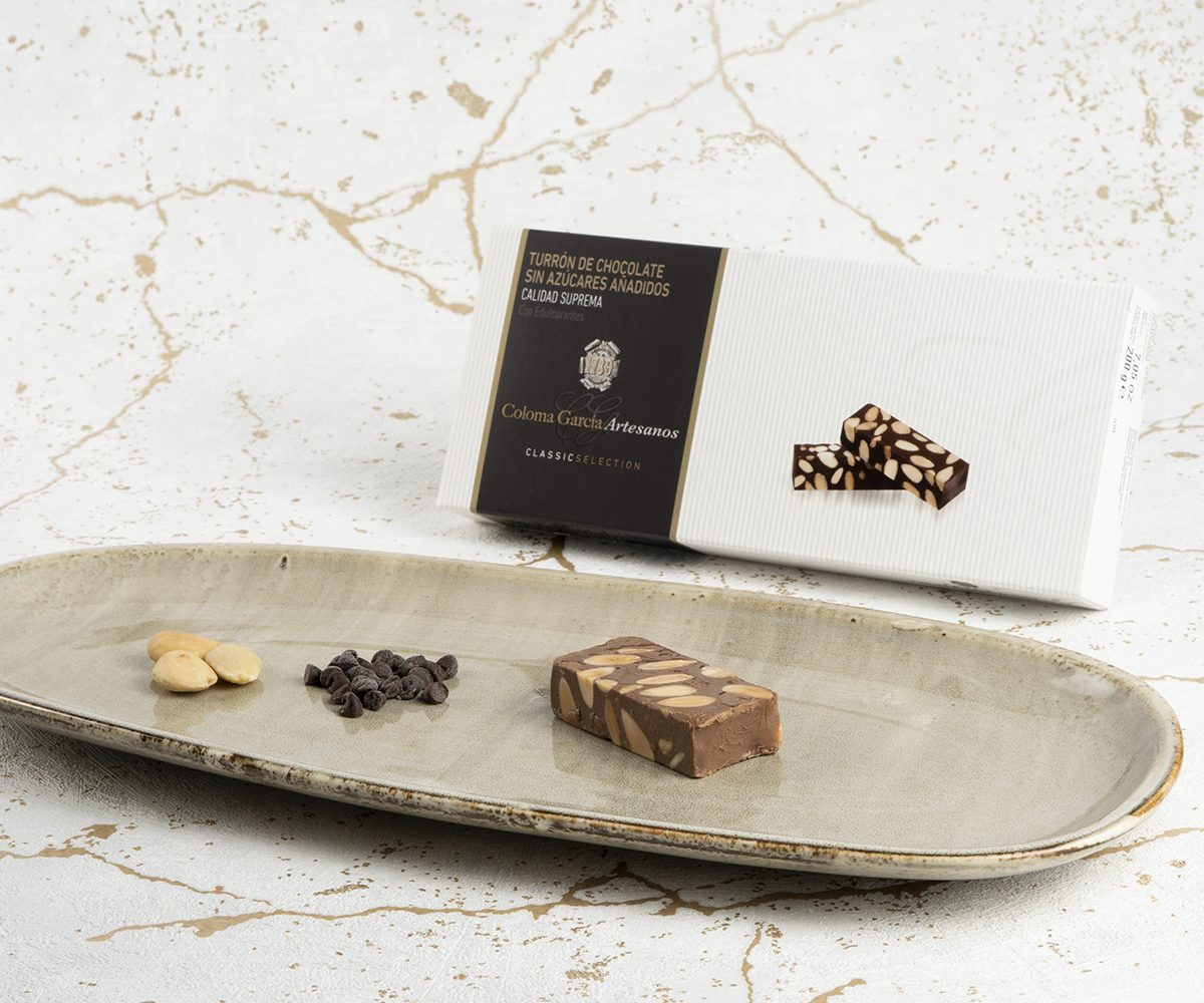 Turrón de chocolate sin azúcares añadidos