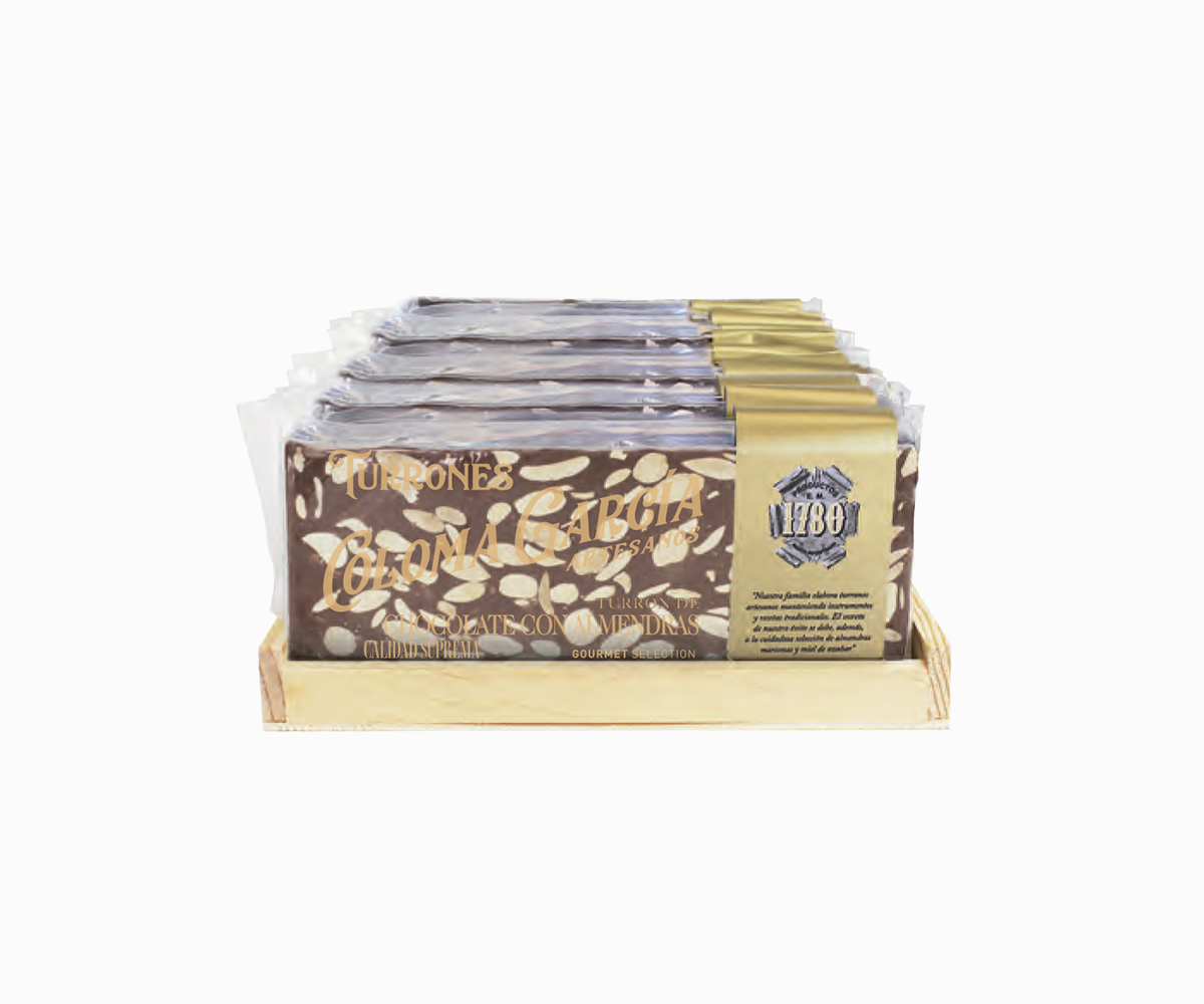 Turrón de Chocolate Artesanal con Leche y Almendras